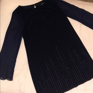 Navy dress with sheer sleeves & beading—size 14